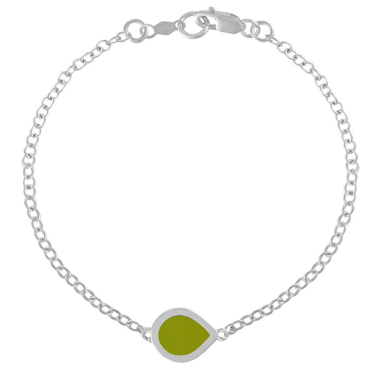 Simple Geometry Chain Bracelet with Green Enameled Pear Charm