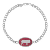 Silver ID Bracelet with Pink Enamel and Pig Silhouette