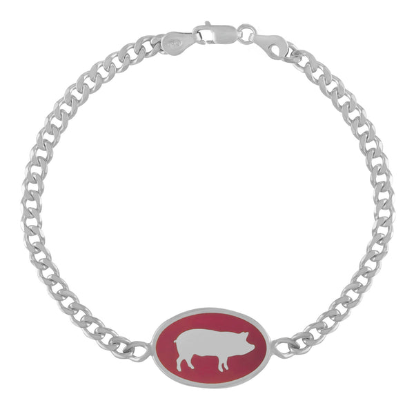 Silver ID Bracelet with Pink Pig