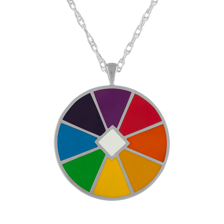 Rainbow Color Wheel Enamel Pendant Necklace