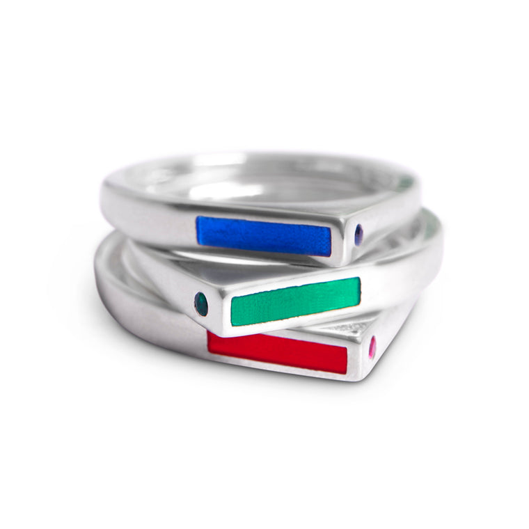 Ruby, Sapphire or Emerald and Matching Enamel Stacking Ring