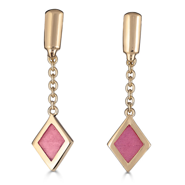 pink enamel diamond dangle on chain 14k gold earring