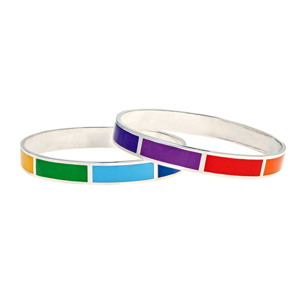 silver pride enameled rainbow bangle bracelet