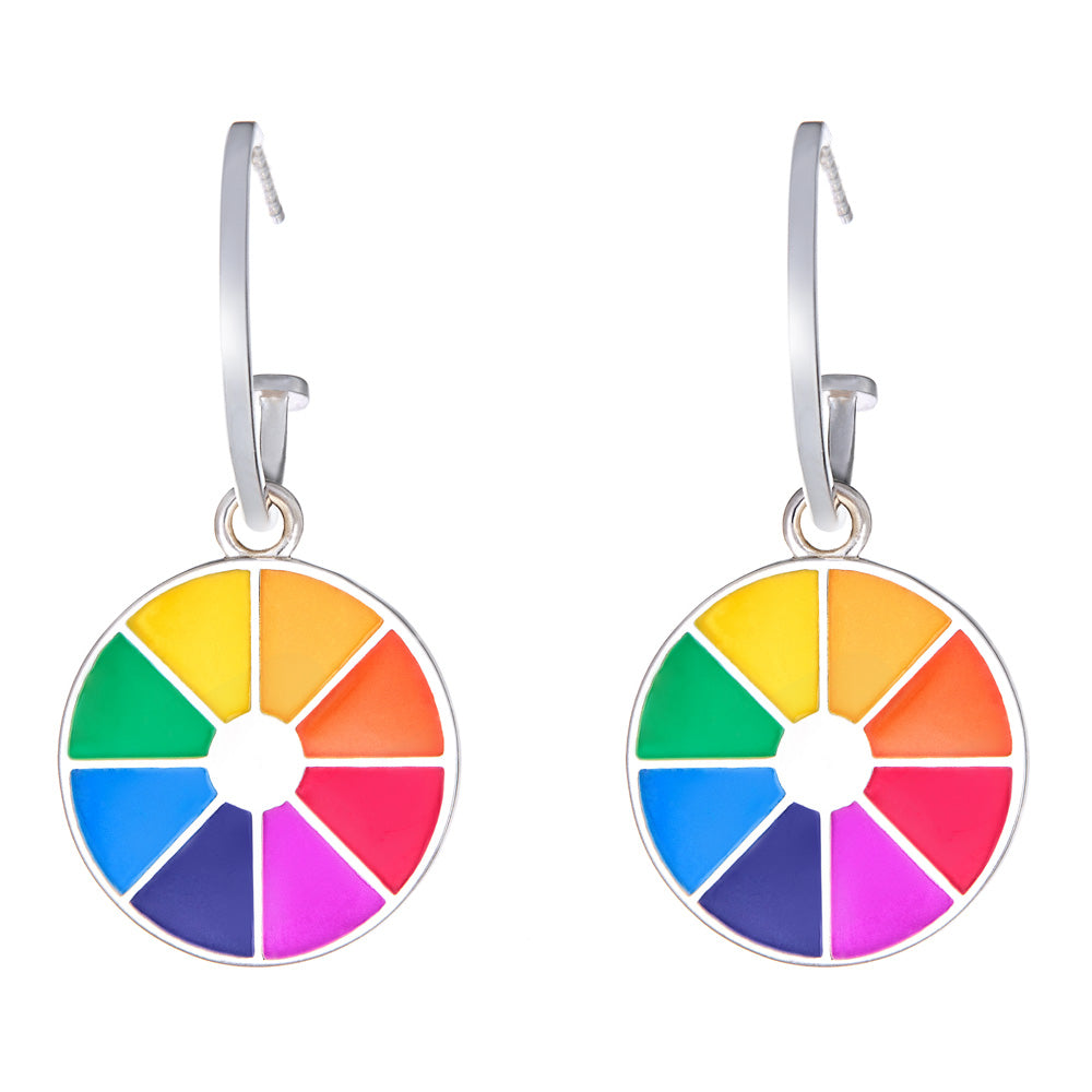 rainbow earrings on hoops