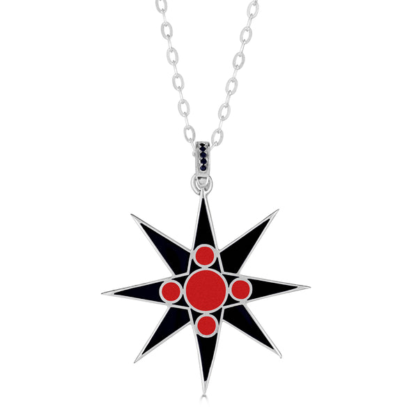 Reversible 8-Pointed Enamel Star Pendant Necklace