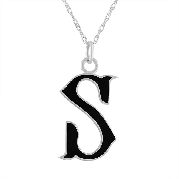 "black enamel and sterling silver initial letter ""S"" pendant necklace"