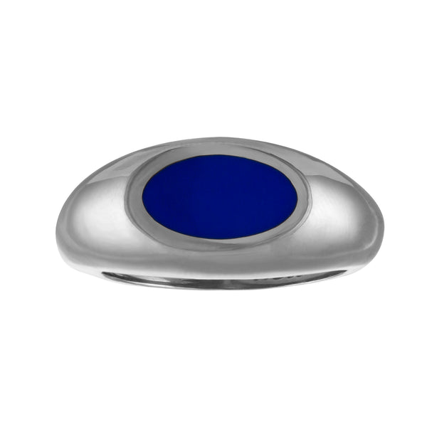 navy blue enamel silver signet ring