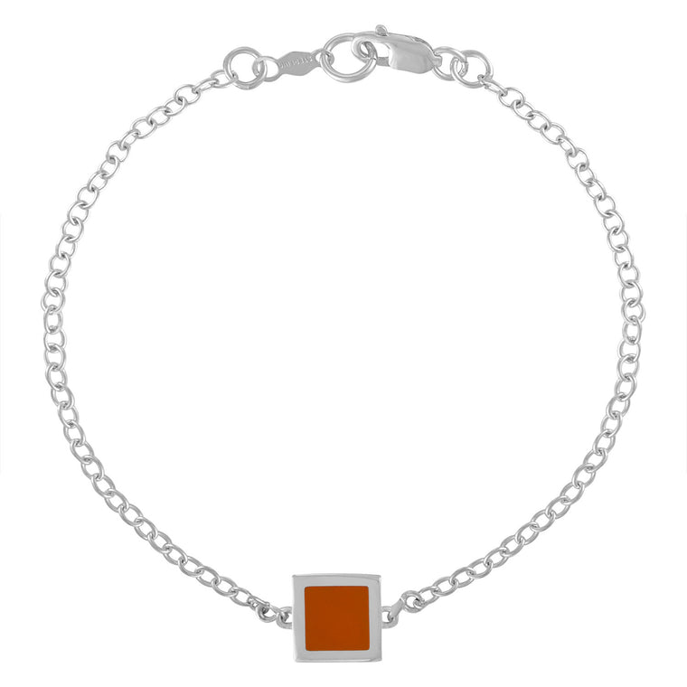 Simple Geometry Chain Bracelet with Orange Enameled Square Charm