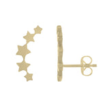 14k gold star climber post earrings