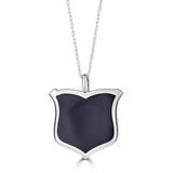 black enamel and silver shield pendant necklace