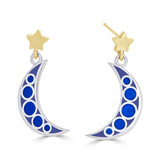 black and navy blue enameled celestial moon and star mixed metal earrings