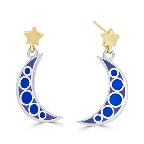 TWO-TONE MOON AND STARS Earrings