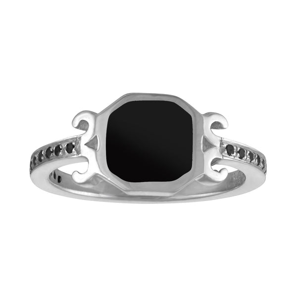 Vintage-inspired sterling silver ring with black enamel center and scroll detail with black spinels.