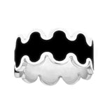 black enameled silver wave design ring