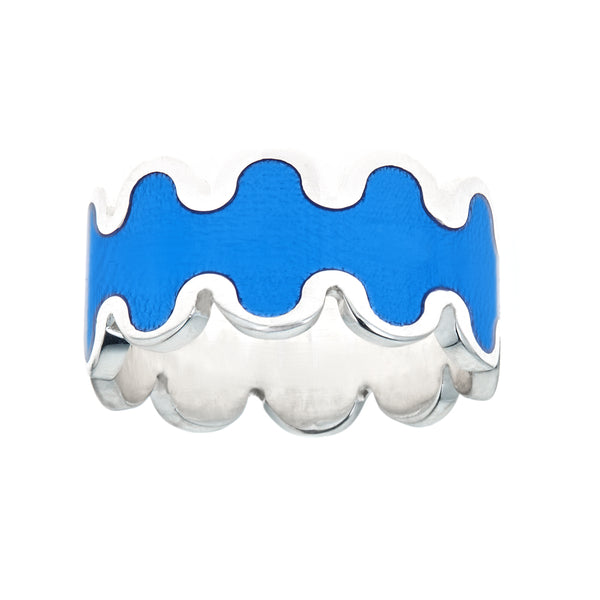 blue enameled wave design ring