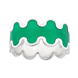 transparent green enameled silver wave design