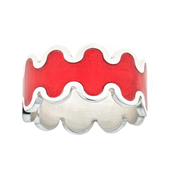 red transparent enamel ring with silver wave design