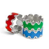 red, green and blue transparent enamel wave design ring