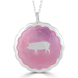 enameled pink pig sihouette scalloped edge medallion