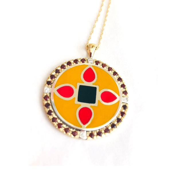 yellow, red and black enameled pendant with gemstone halo