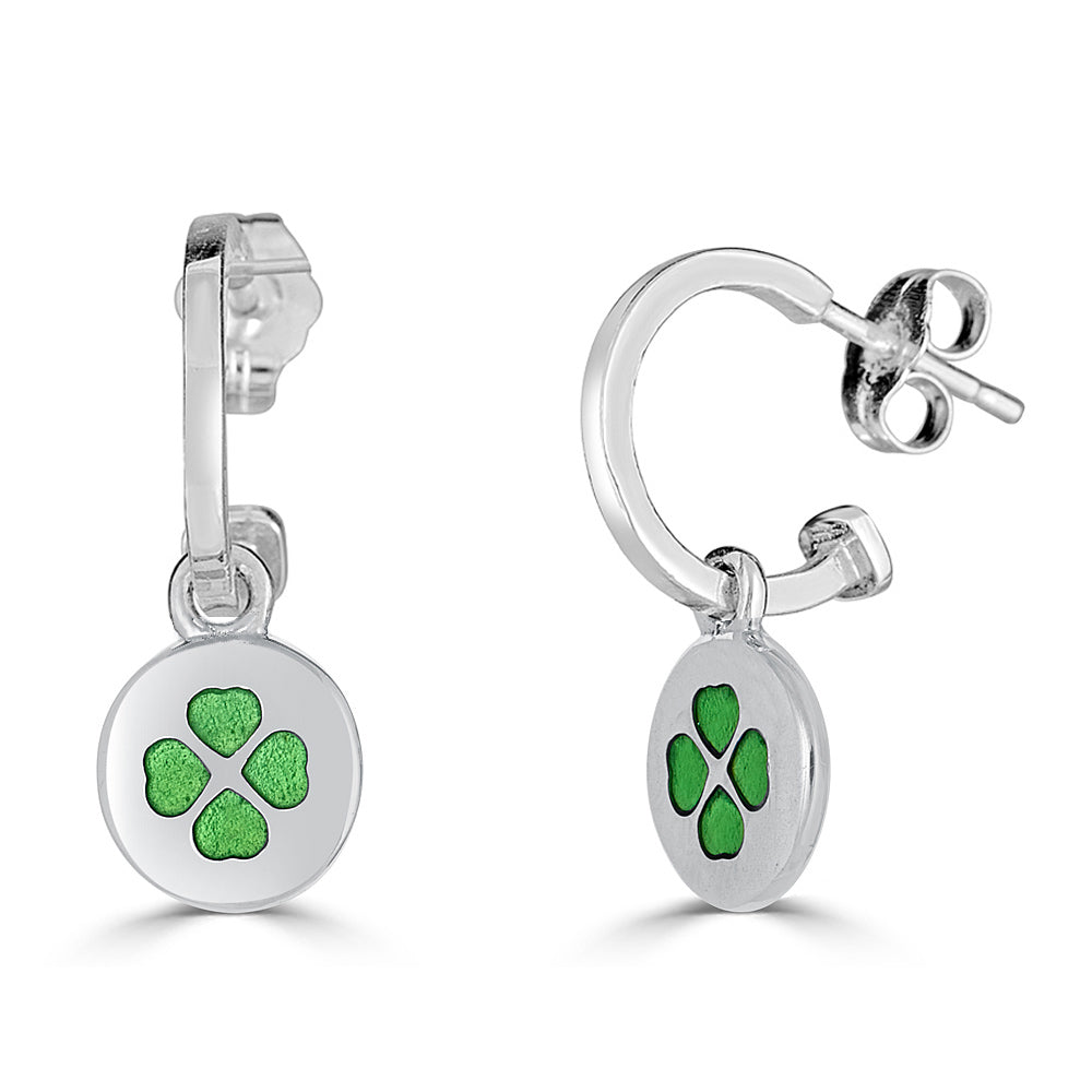 Lucky Charm on Hoop Sterling Silver Earring