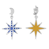 """Night Sky"" Enamel Crescent Moon and Star Drop Earrings"
