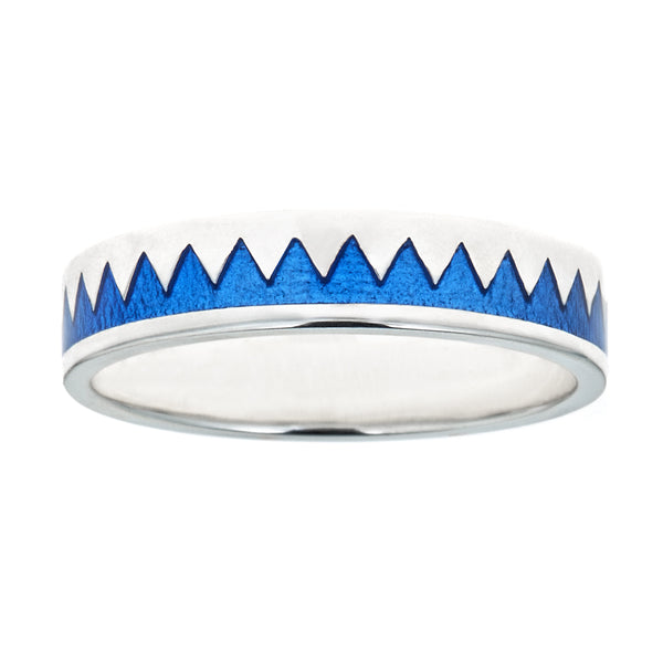 blue enameled zig zag stacking ring