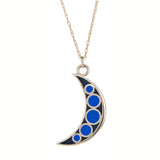 Reversible Mini Crescent Moon Enamel Charm Necklace in 14K Gold