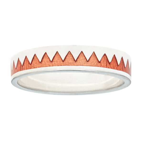 orange enamel zig zag stacking ring