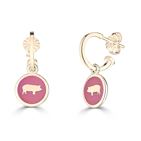 """This Little Piggy"" Enamel Charm Hoop Earrings"