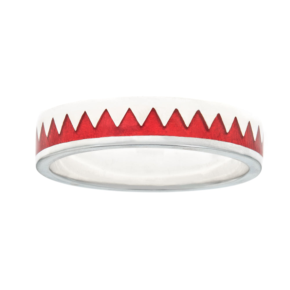 red enameled zig zag stacking ring