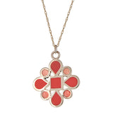 reversible two-toned pink enamel and gold pendant necklace