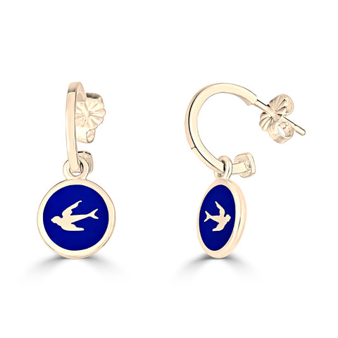 """Up in the Air"" Bird Charm Hoop Earrings"