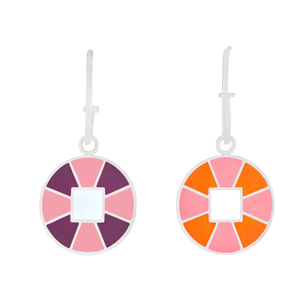 Two sided color block enameled charm drops on hoops in orange and pink