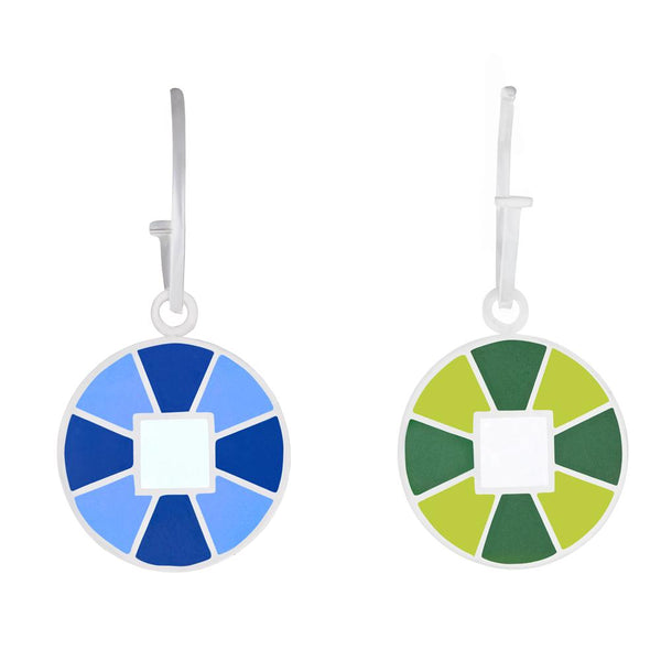 blue and green reversible color block enameled charm hoops