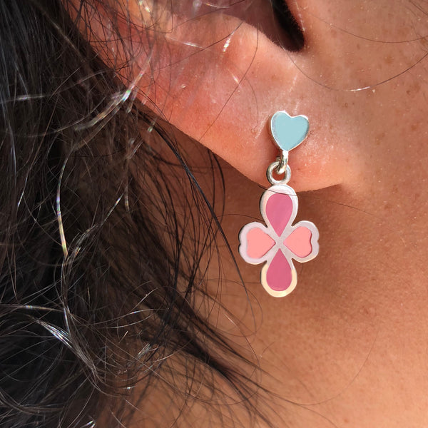 two tone yellow and pink clover drop earrings on heart studs