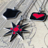 Reversible Black Heart Pendant Necklace with garnet Accent Bail