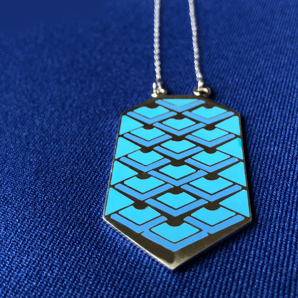Blue deco enameled necklace on silver chain