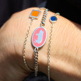 delicate chain bracelets silver orange pink and blue