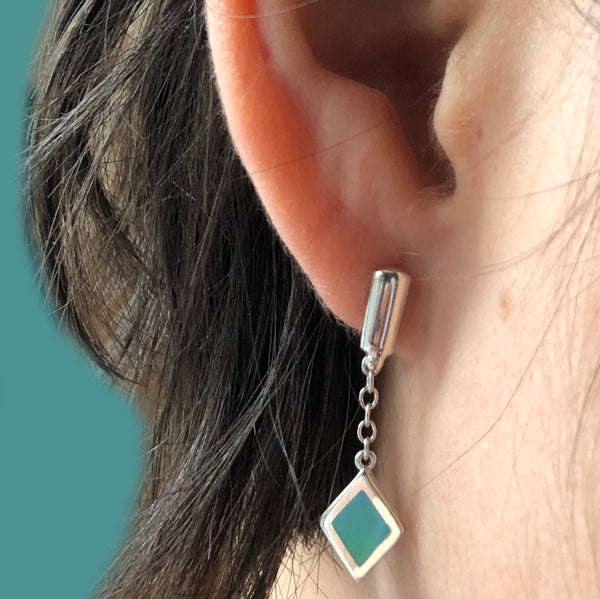 blue enamel post dangle earring
