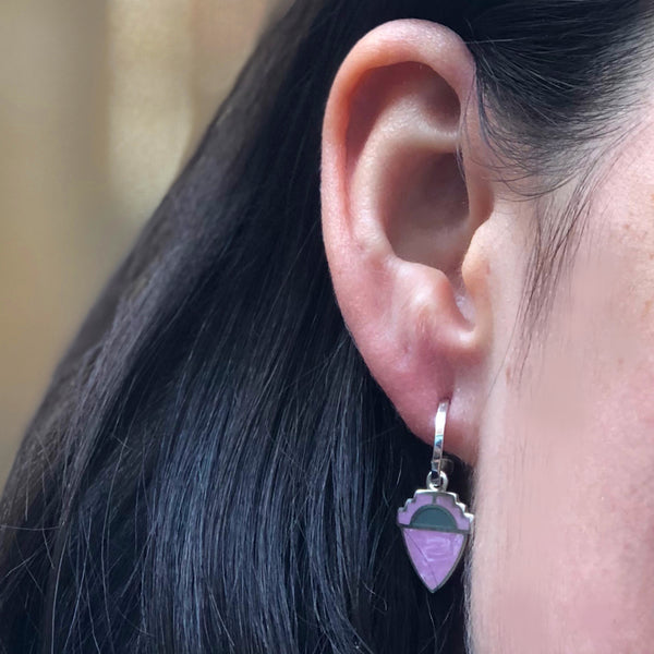 two tones of purple enamel shield drops on half round hoops