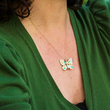green vitreous enamel 14k gold butterlfly