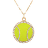diamond tennis ball enameled neckace in lime green