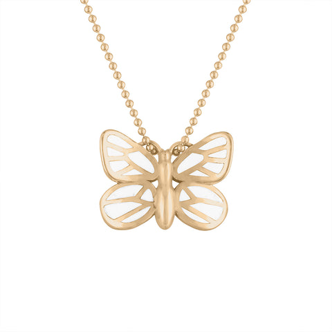 14k gold and white enamel butterfly pendant