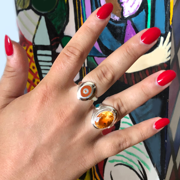 enameled cigar band and citrine cocktail ring