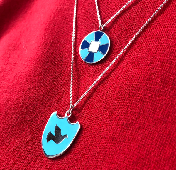 Maxi-sized Dove of Peace Enamel Charm Necklace