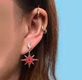 crescent moon posts and red enameled star charm drop earrings