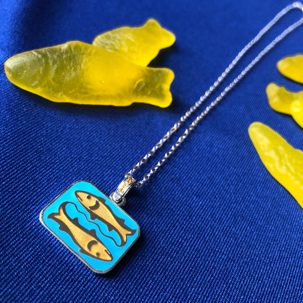 Reversible Double Fish Pendant Necklace with Citrine Accent Bail