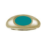 pale aqua blue enamel gold signet ring