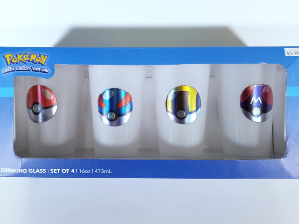 POKÉMON POKEBALLS DRINKING GLASS SET OF 4 ( 16oz l 473ml )